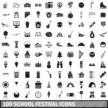 100 school festival icons set, simple style