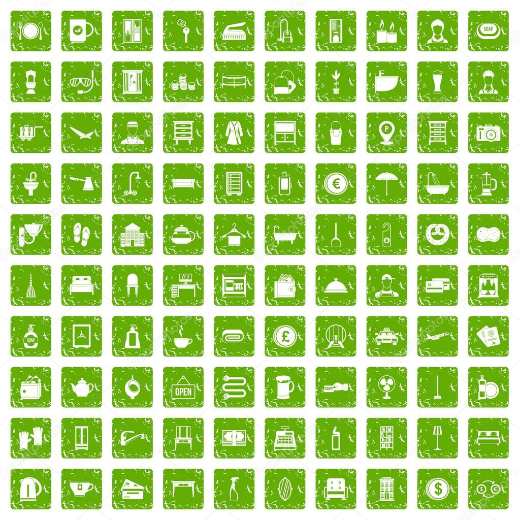 100 inn icons set grunge green
