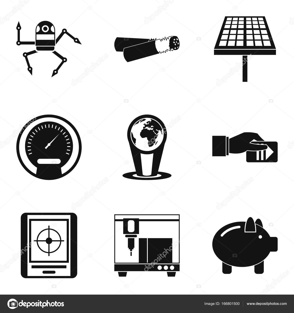 Automotive Elektronik Symbole gesetzt, einfachen Stil — Stockvektor ...