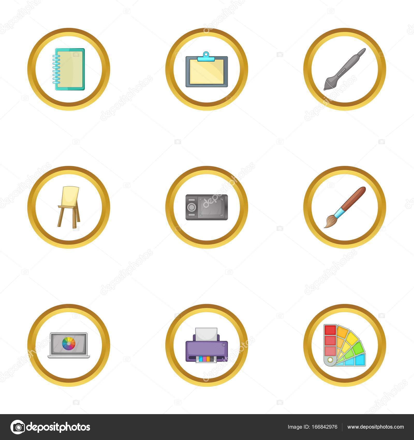 Computer drawing tool icons set, cartoon style — Stock Vector ...