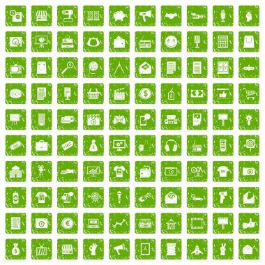 100 marketing icons set grunge green