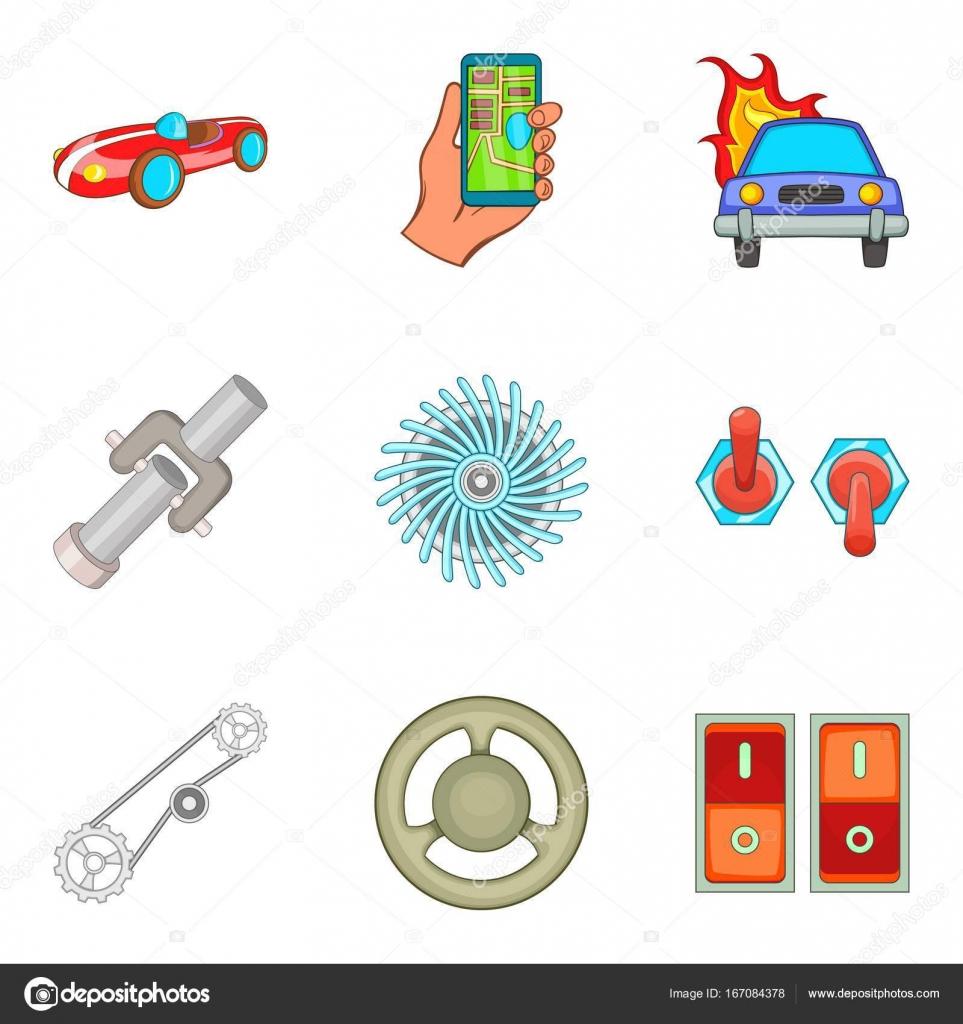 Automobil-Elektronik Symbole gesetzt, Cartoon-Stil — Stockvektor ...