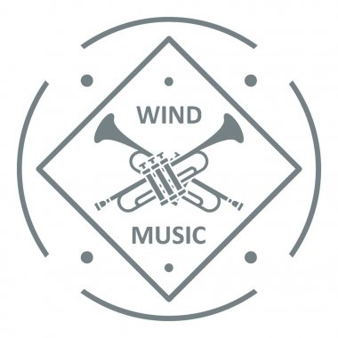 Musical trumpet logo, simple gray style