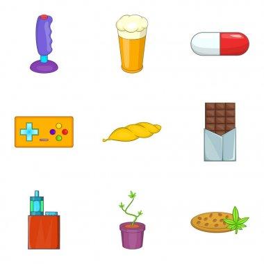 Harmful icons set, cartoon style