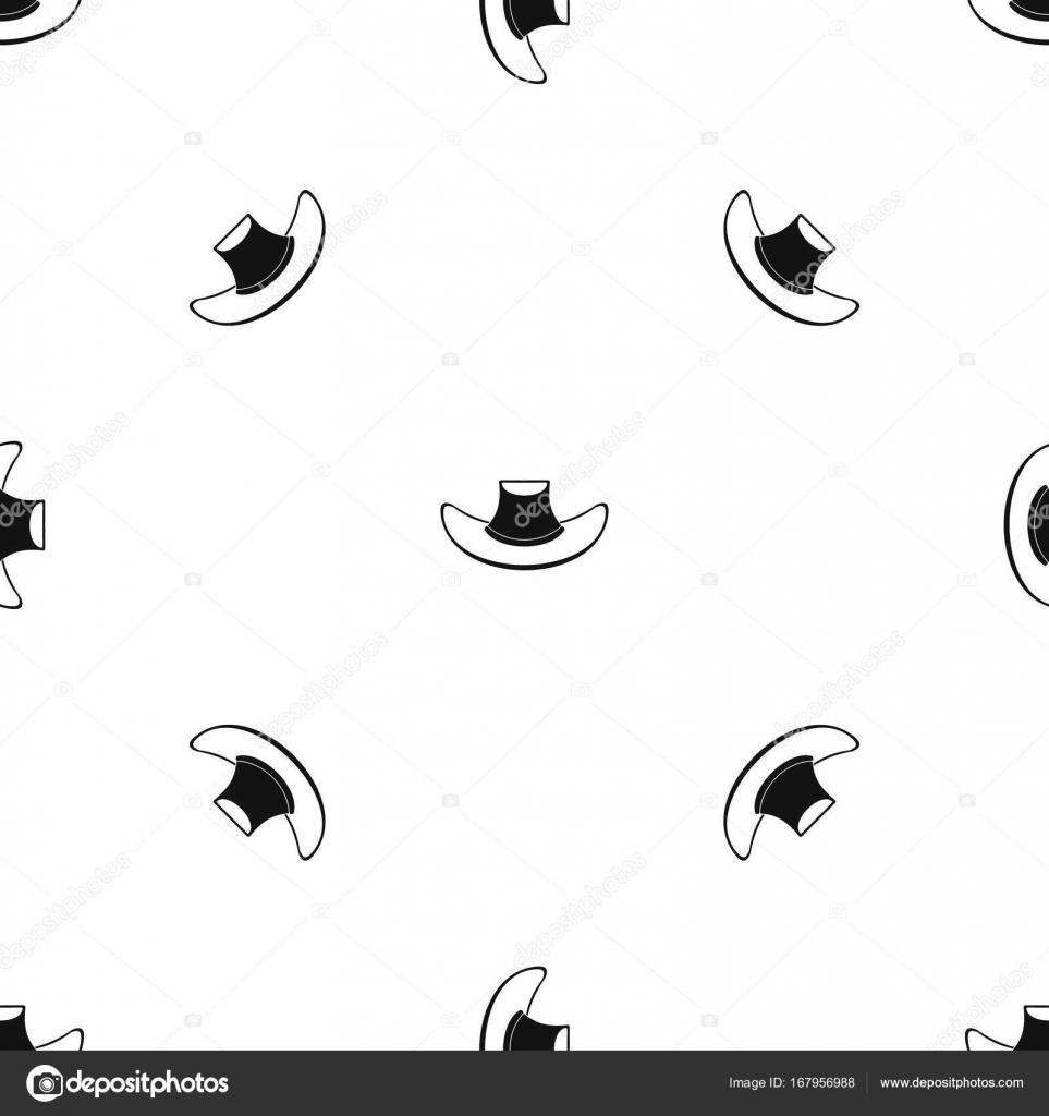 Sombrero de vaquero negro sin soldadura de patrón — Vector de stock ...