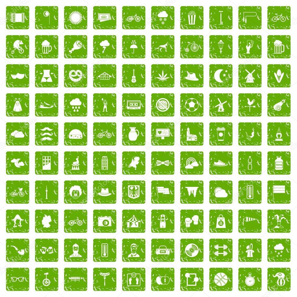 100 bicycle icons set grunge green