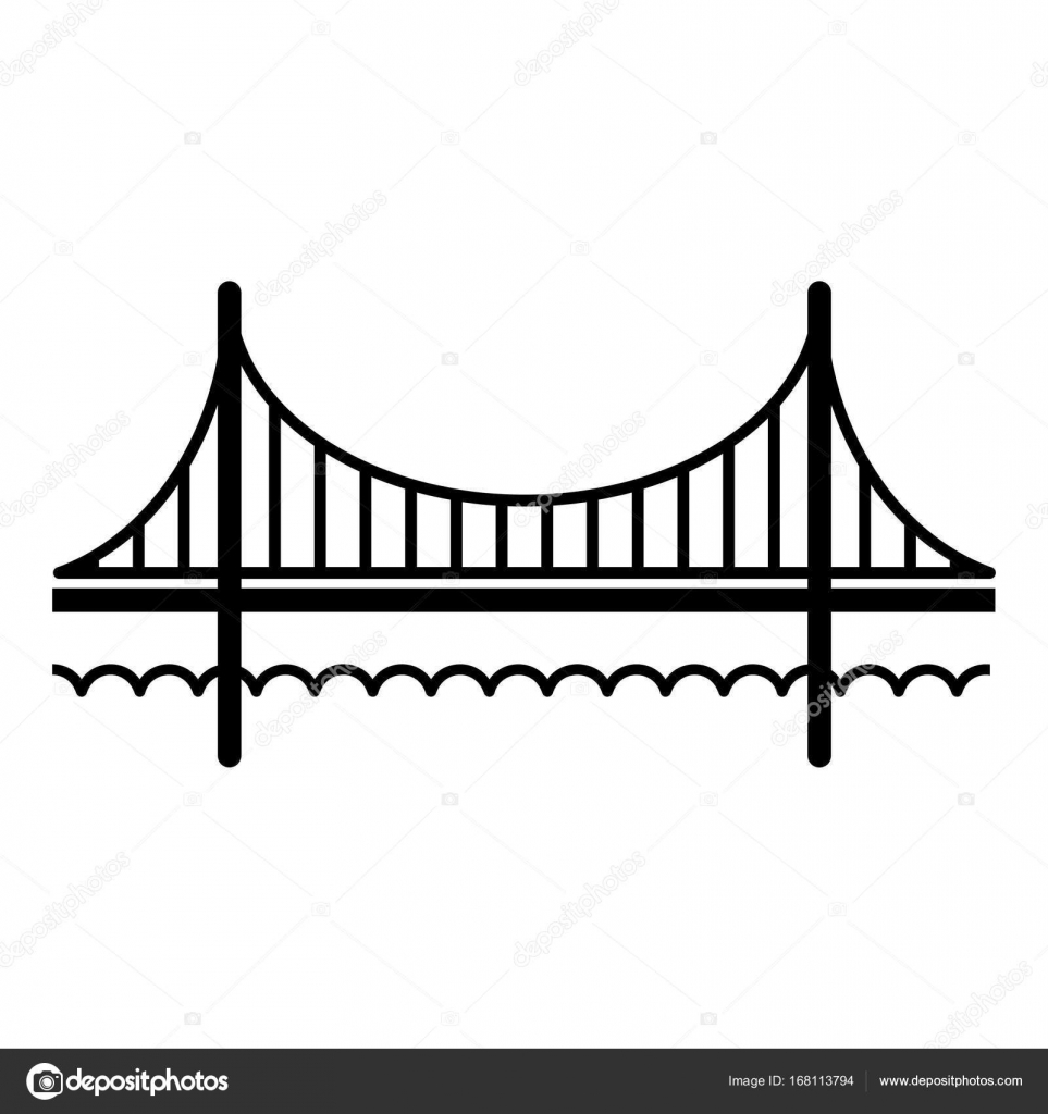 Golden Gate Brcke Symbol Einfache Blackstyle Stockvektor And