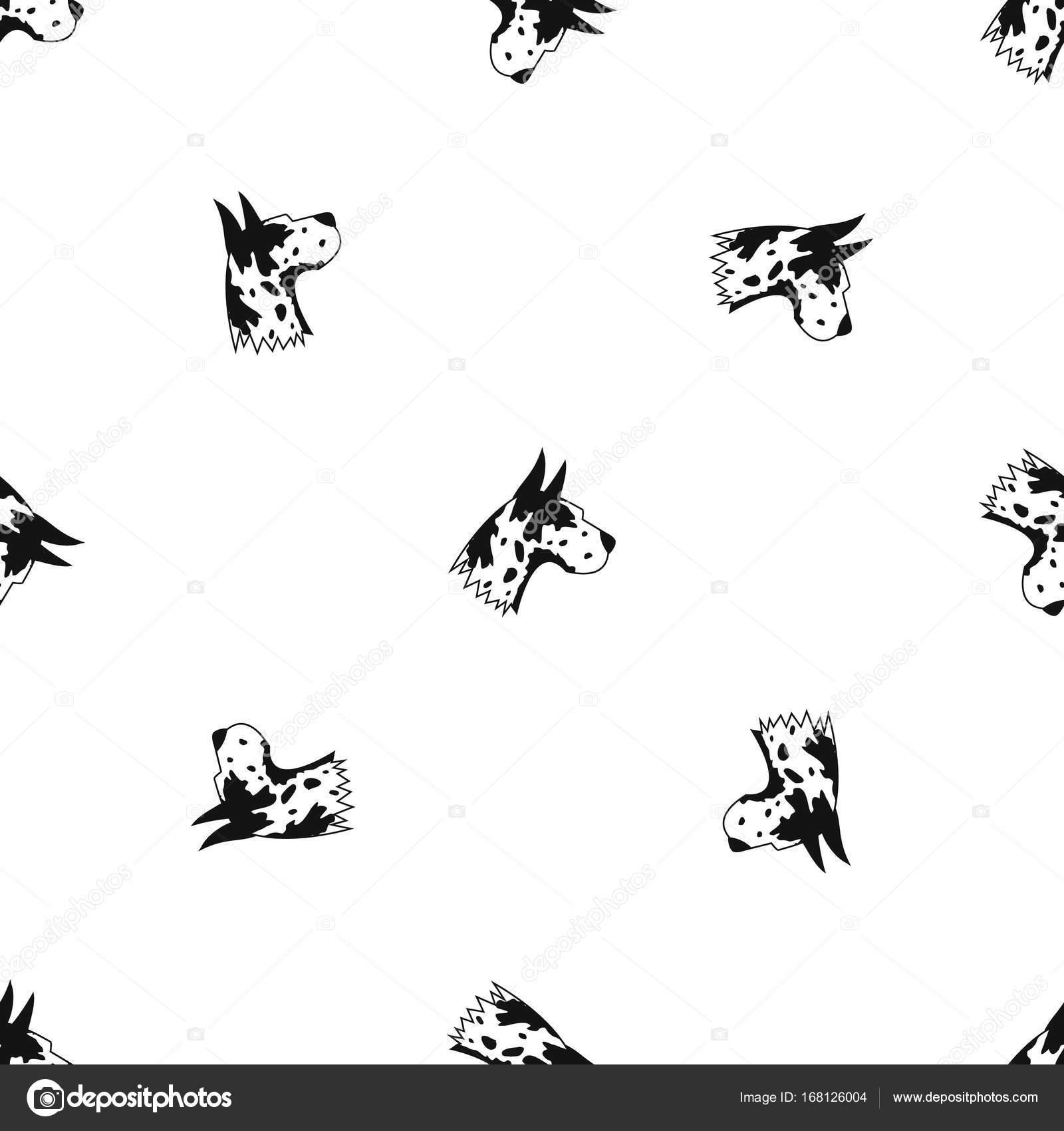 Negro sin costura de gran danés perro patrón — Vector de stock ...