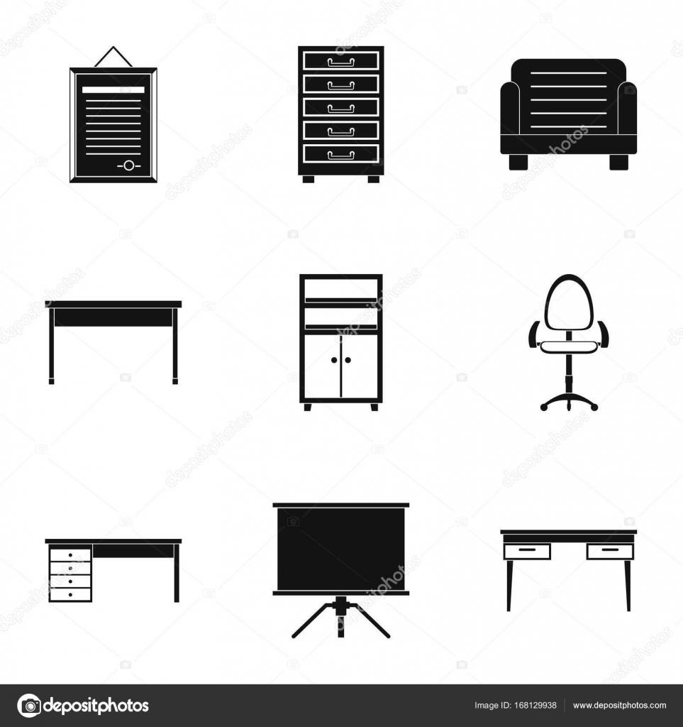 Komfort-Möbel-Symbole-Set, einfachen Stil — Stockvektor © ylivdesign ...