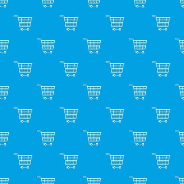 Empty supermarket cart with plastic handles pattern seamless blue