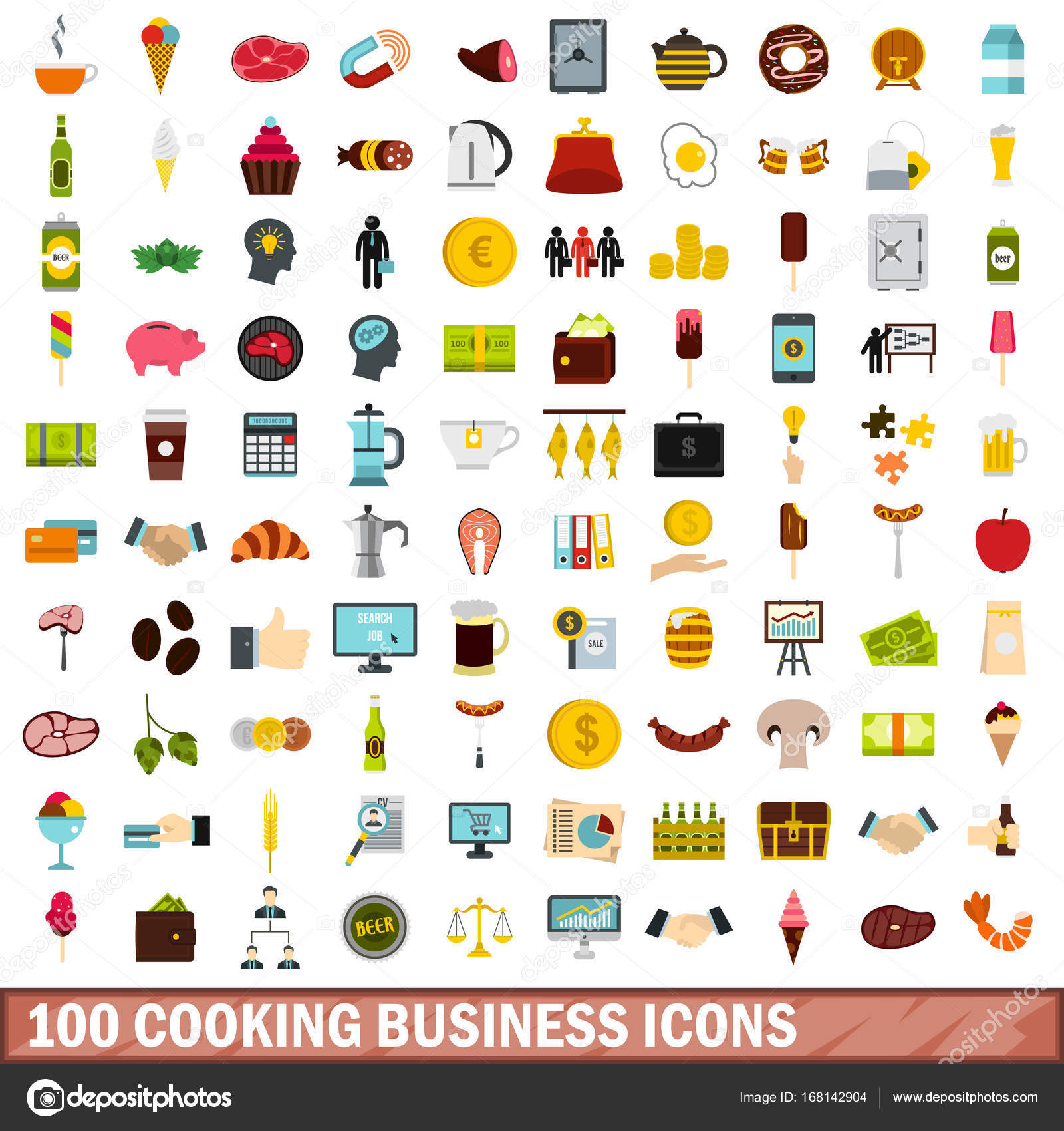 100 cooking business icons set flat style stock vector