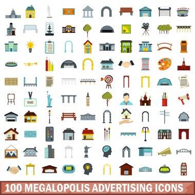 100 megalopolis advertising icons set, flat style