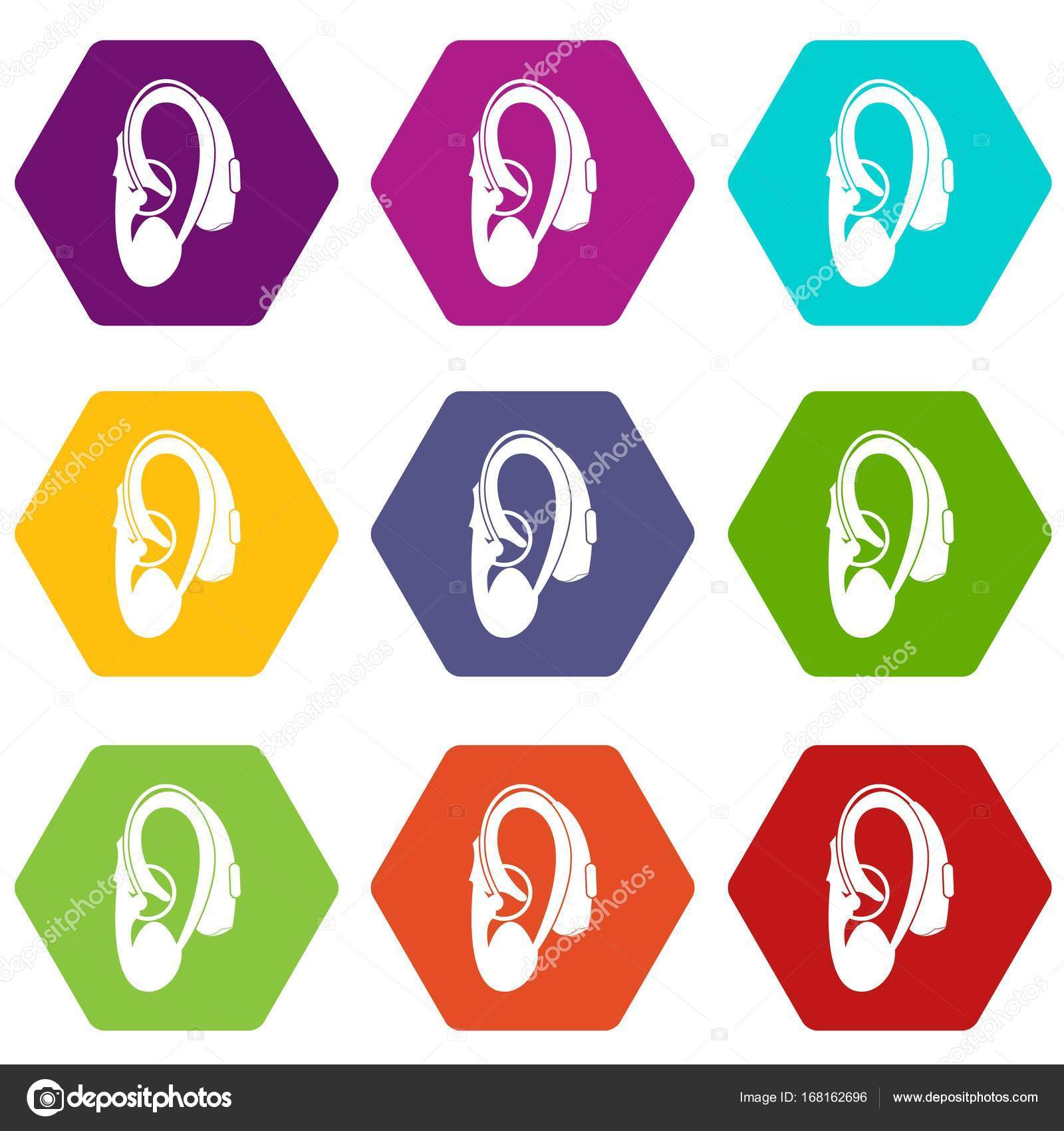Hearing Aid Icon Set Color Hexahedron Stock Vector Ylivdesign