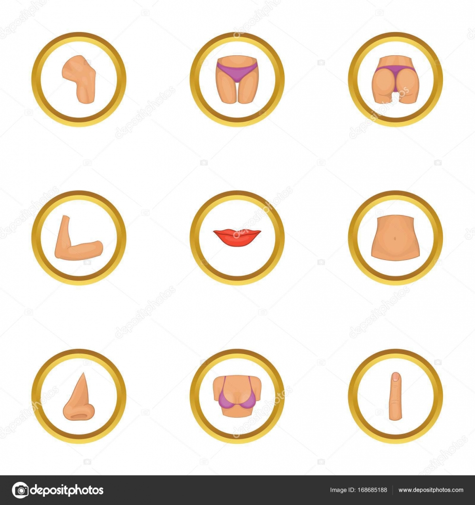 Partes del cuerpo humano sistema de iconos, estilo de dibujos ...