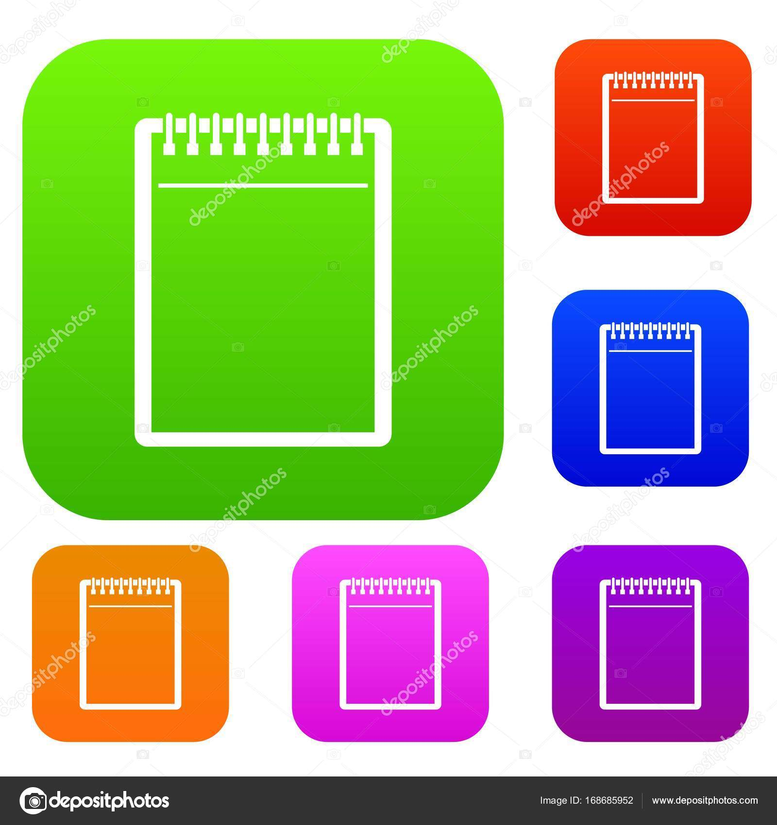 Blank spiral notepad set color collection — Stock Vector ...