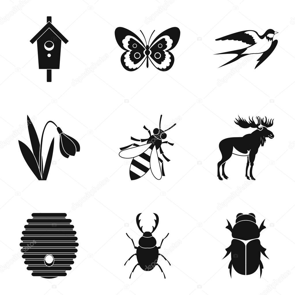 Herbivorous icons set, simple style