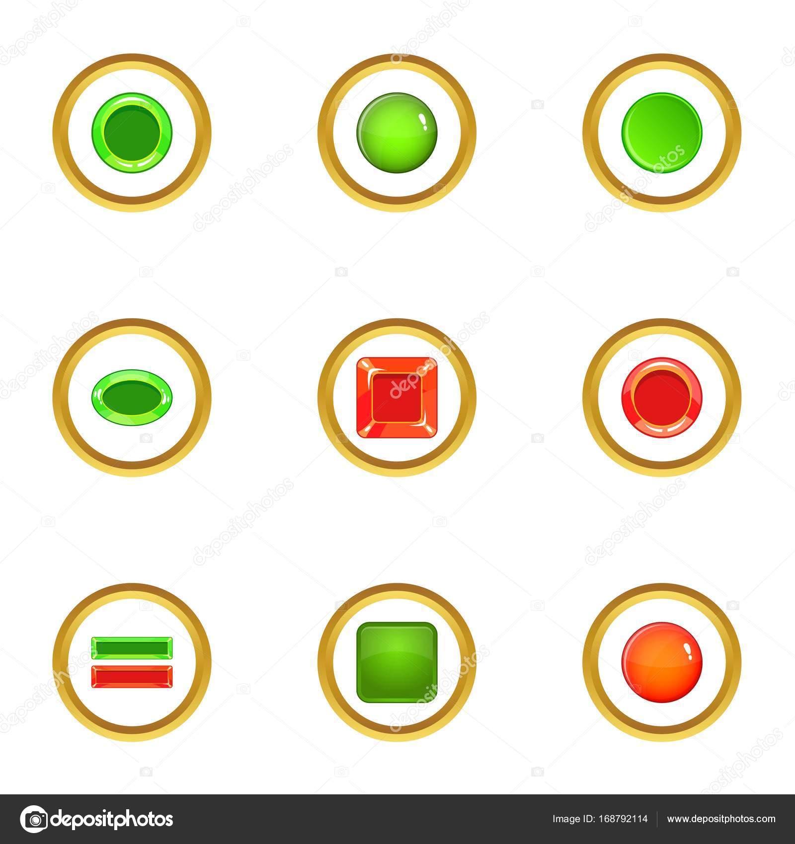 Schalter Symbole Elementsatz, Cartoon-Stil — Stockvektor ...