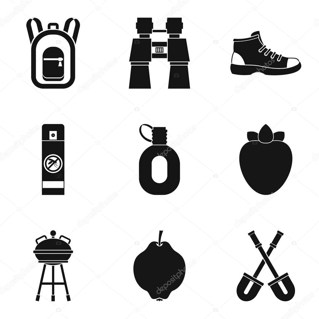 Trekking icons set, simple style