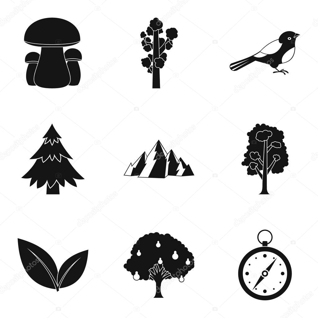 Hunting ground icons set, simple style