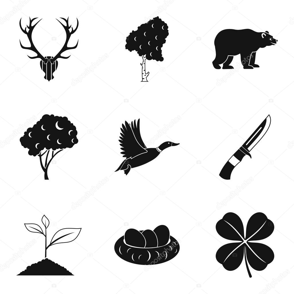 Hunting party icons set, simple style