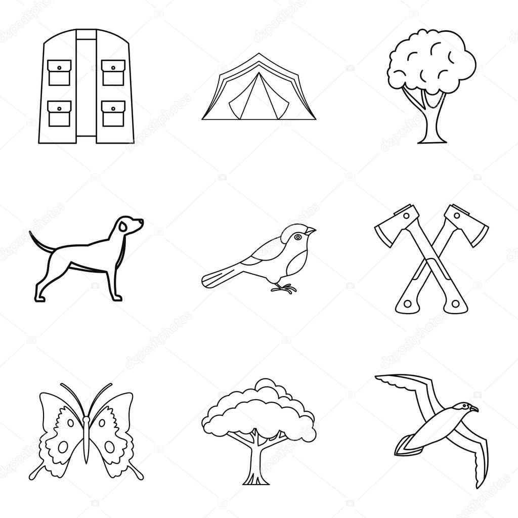 Animal watching icons set, outline style