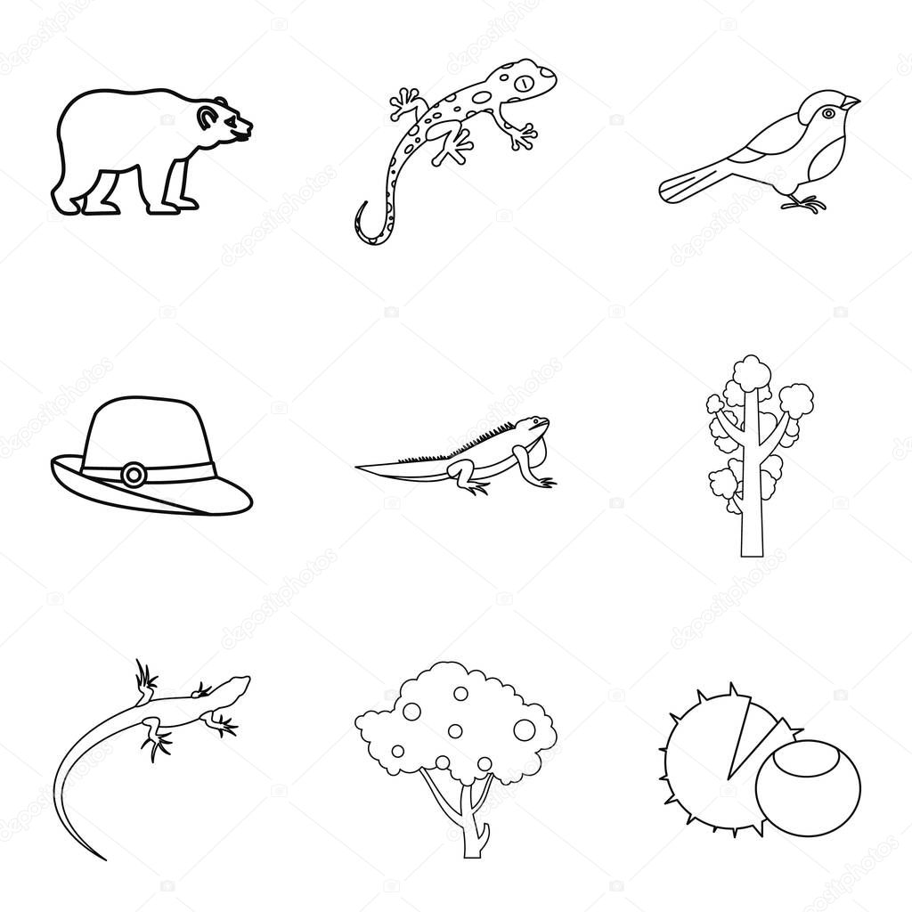 Wood animal icons set, outline style