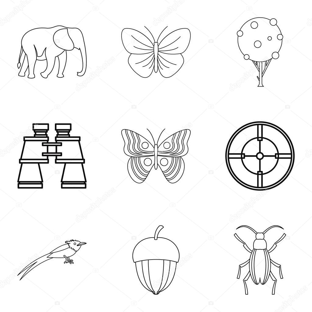 Natural philosopher icons set, outline style