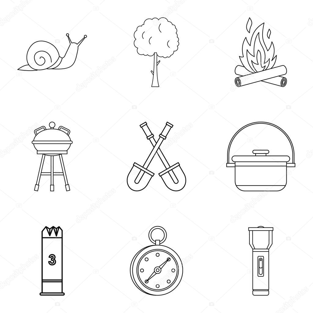 Backyard icons set, outline style