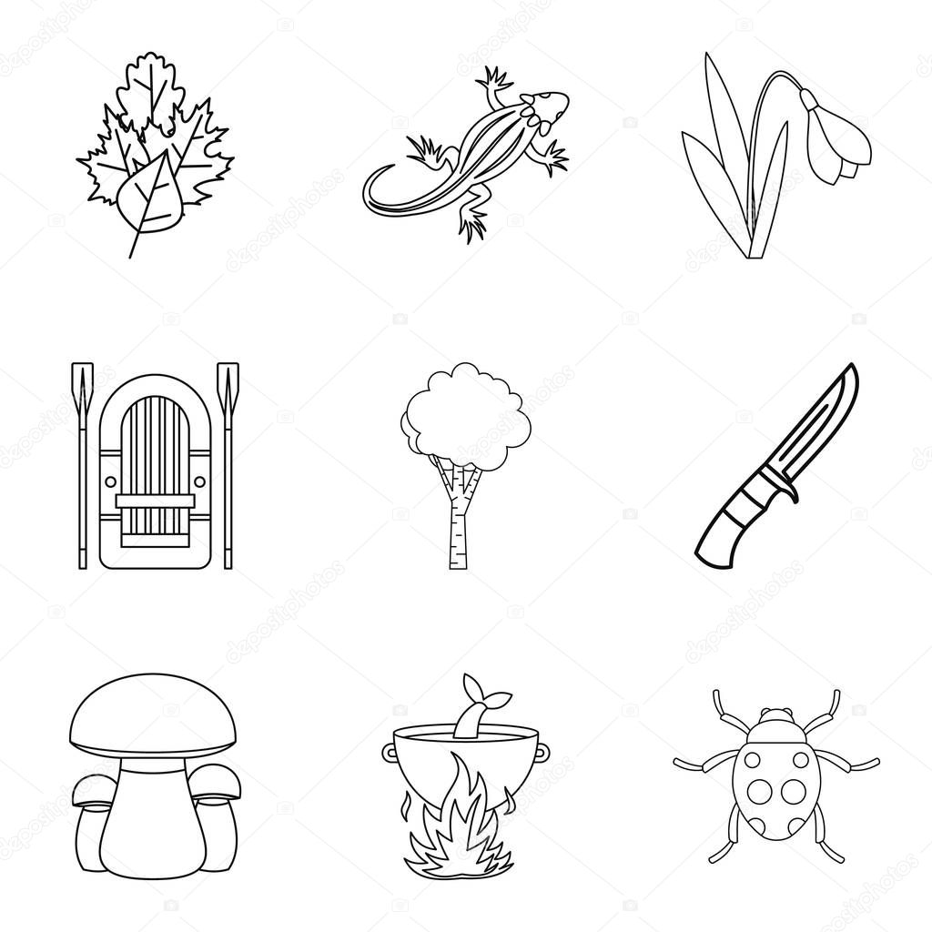 Forest gift icons set, outline style