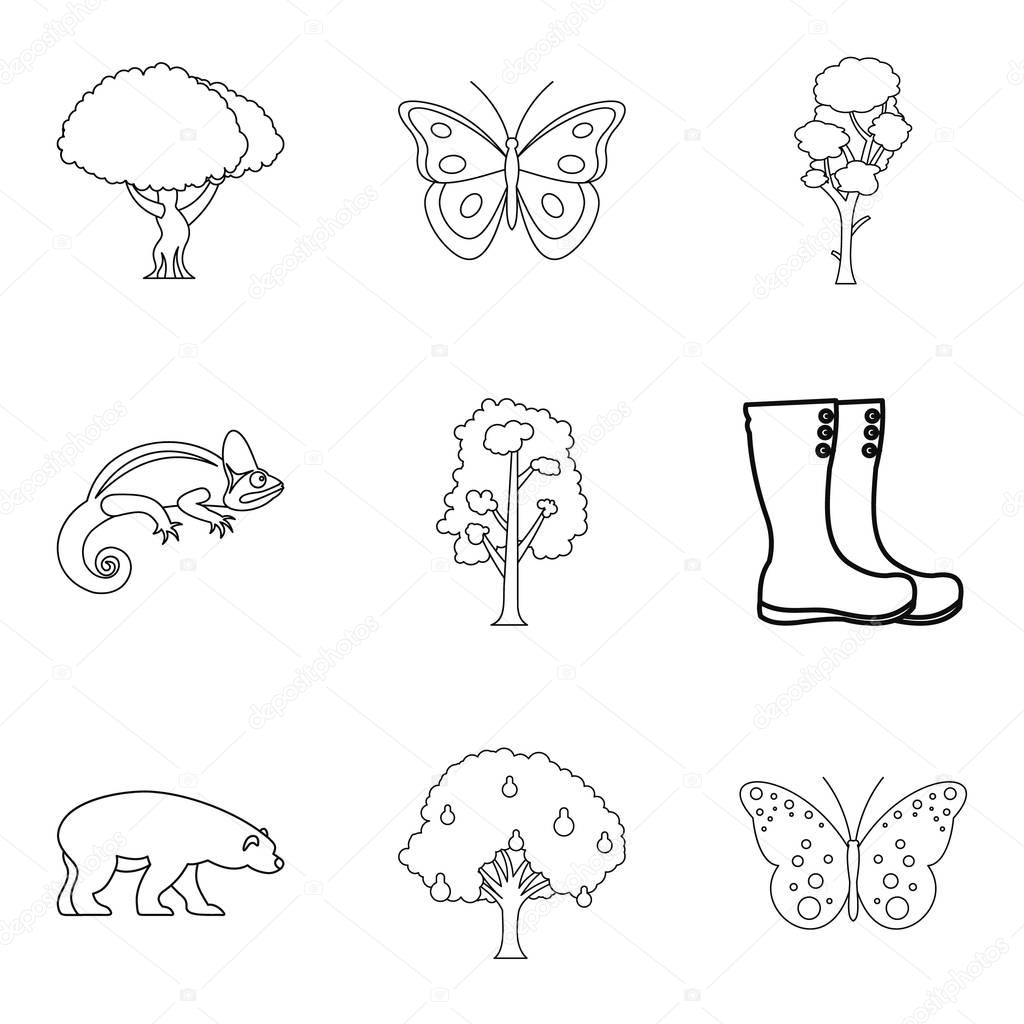 Healthy forest icons set, outline style