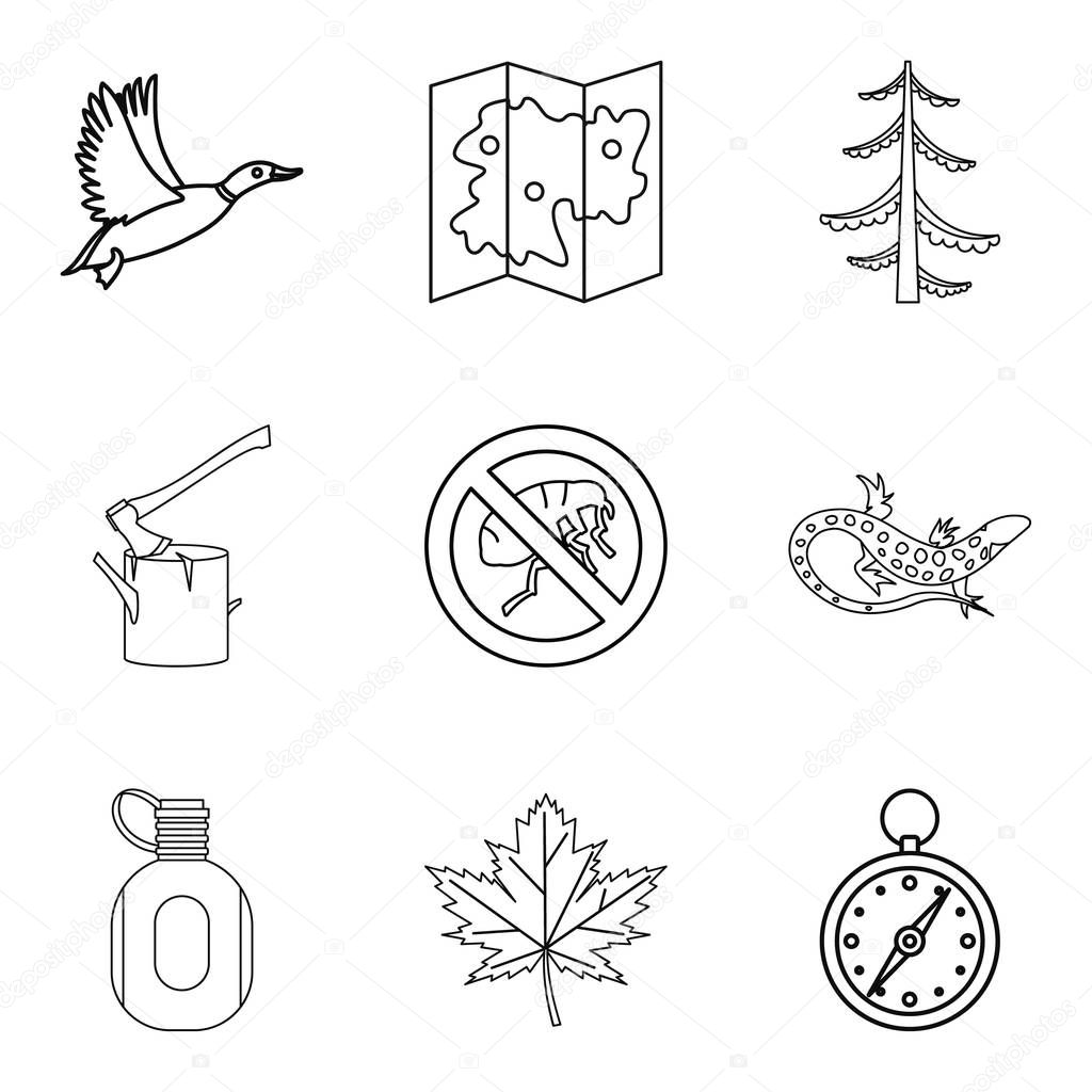Terrain icons set, outline style