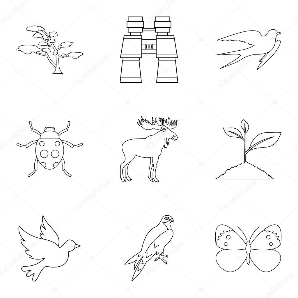 Forest beast icons set, outline style