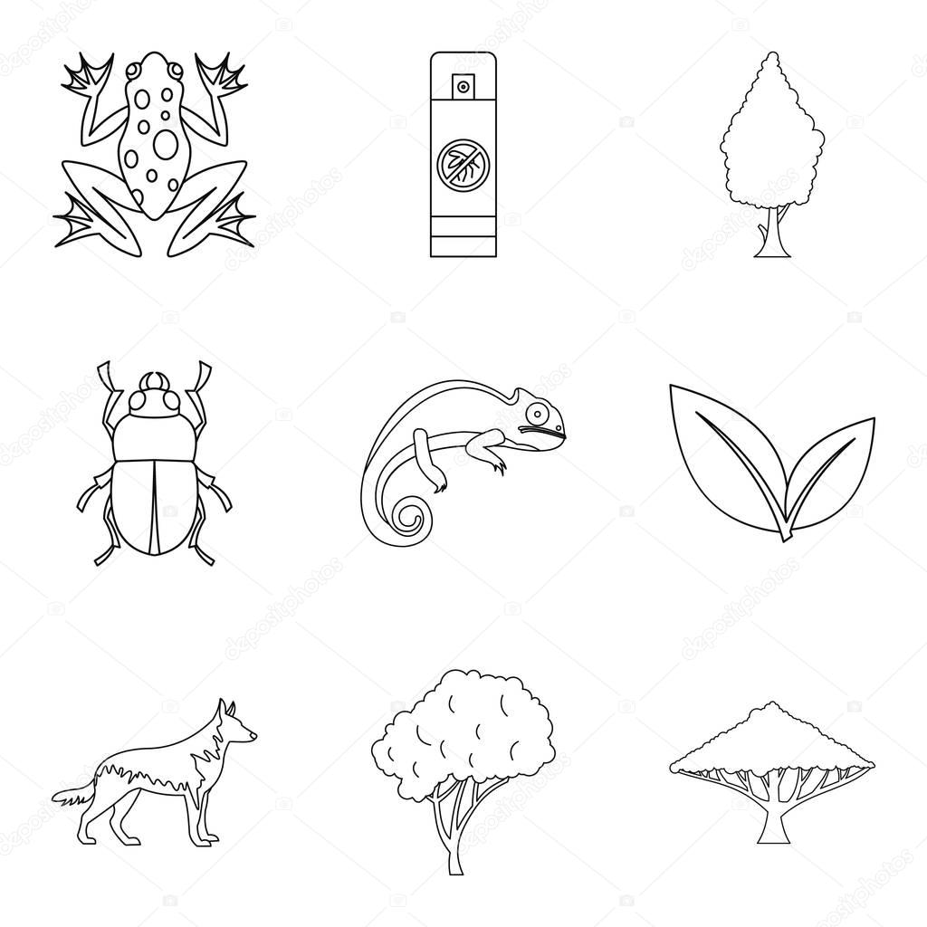 Parasite icons set, outline style