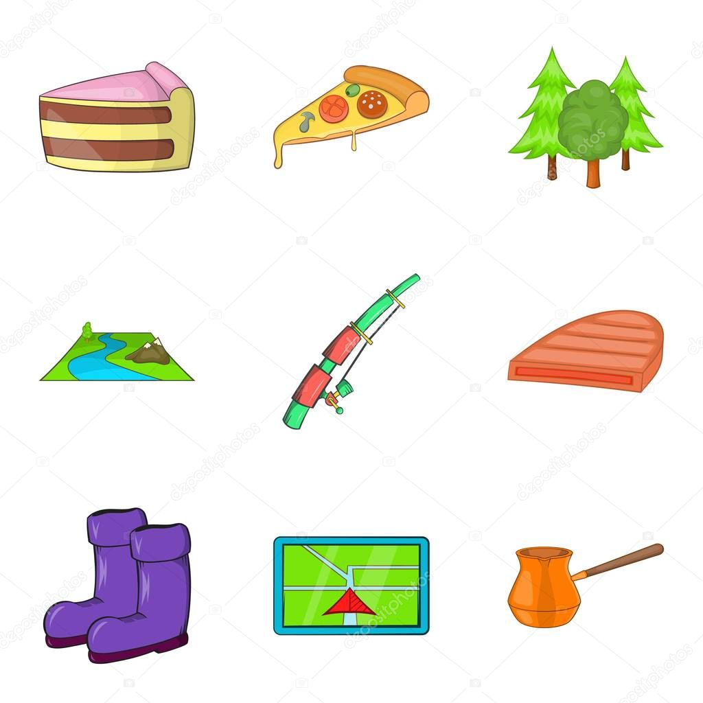 Camping trip icons set, cartoon style