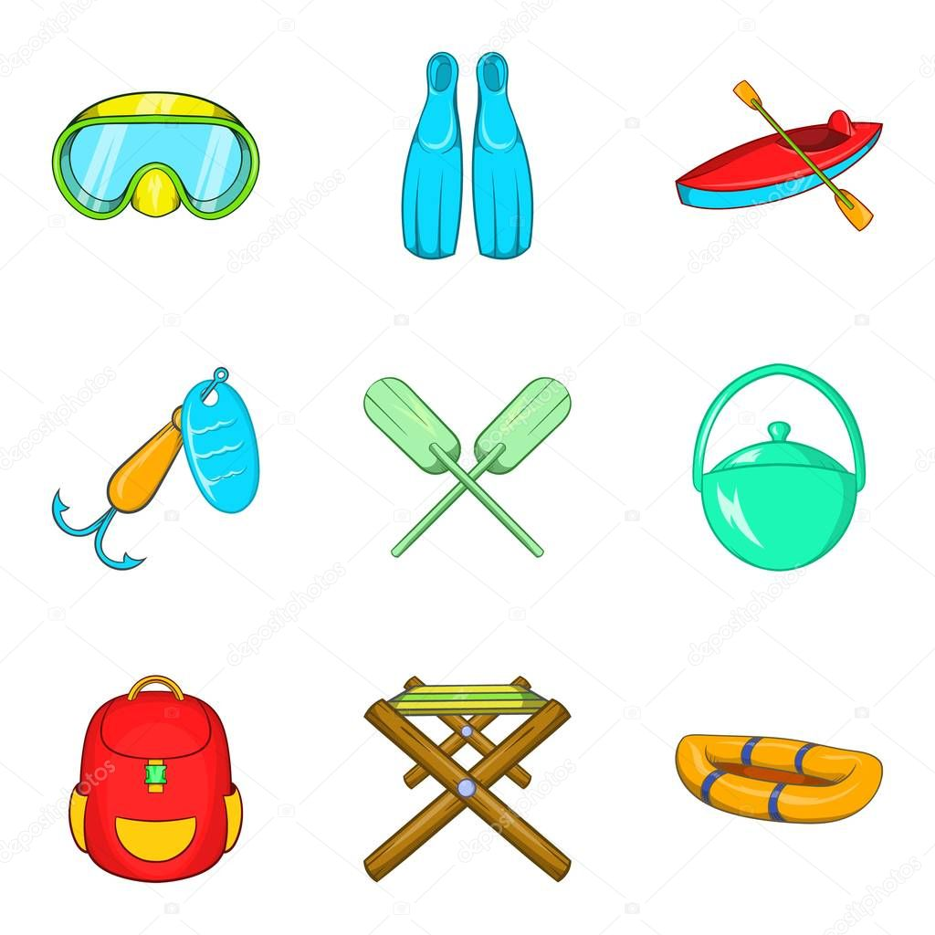 Campsite material icons set, cartoon style