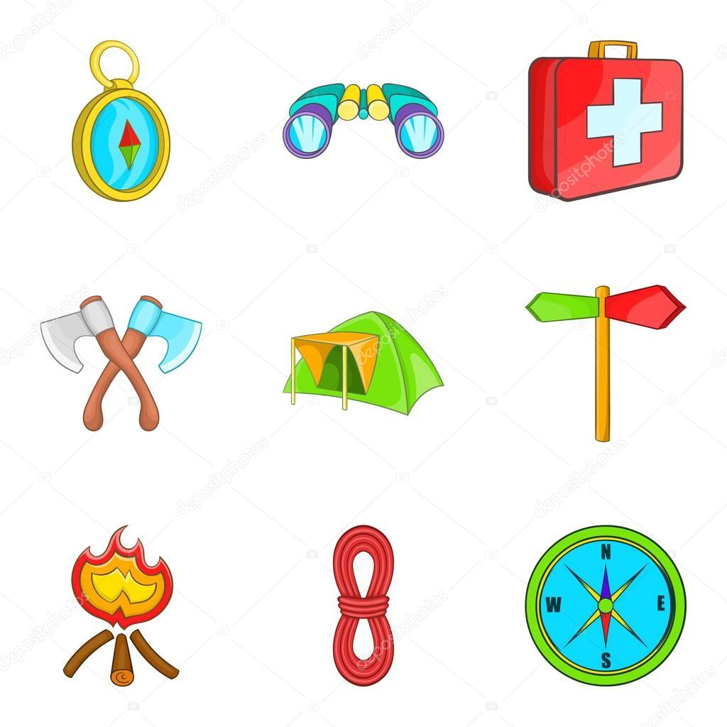 Promenade in forest icons set, cartoon style