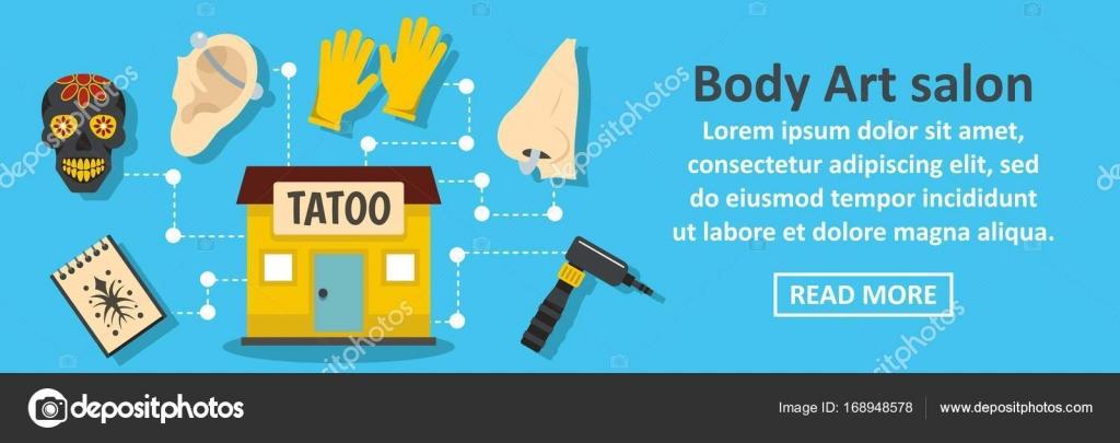 Body art salon banner horizontal concept — Stock Vector
