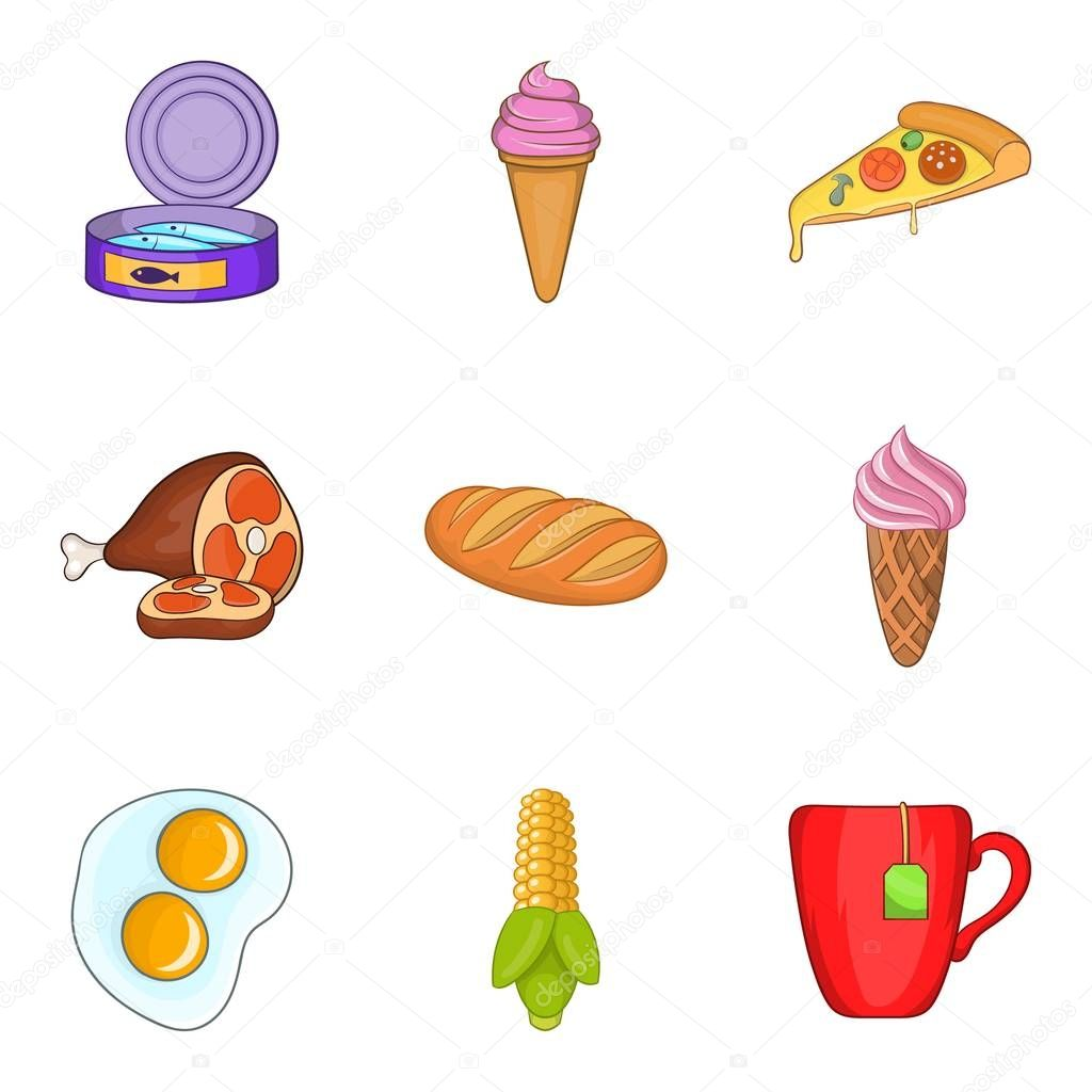 Pleasant breakfast icons set, cartoon style