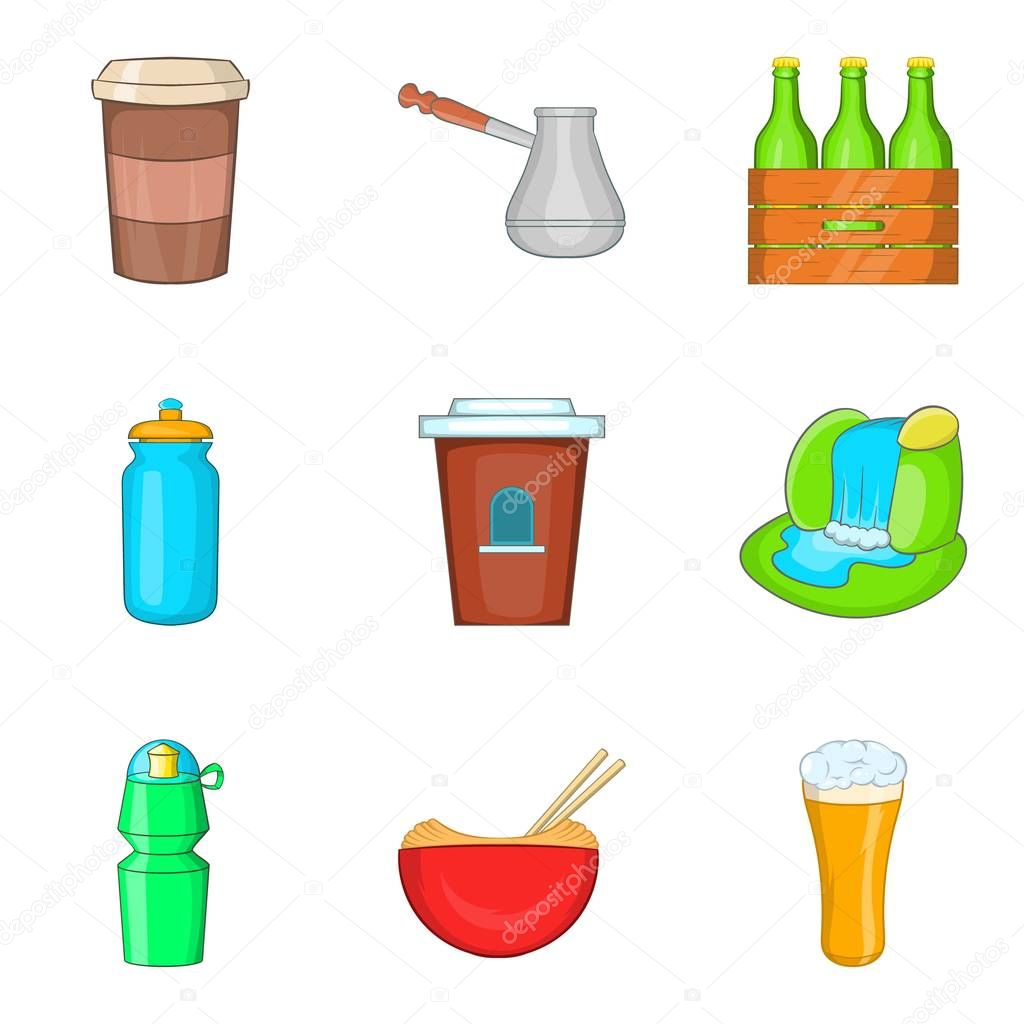 Travel drink icons set, cartoon style