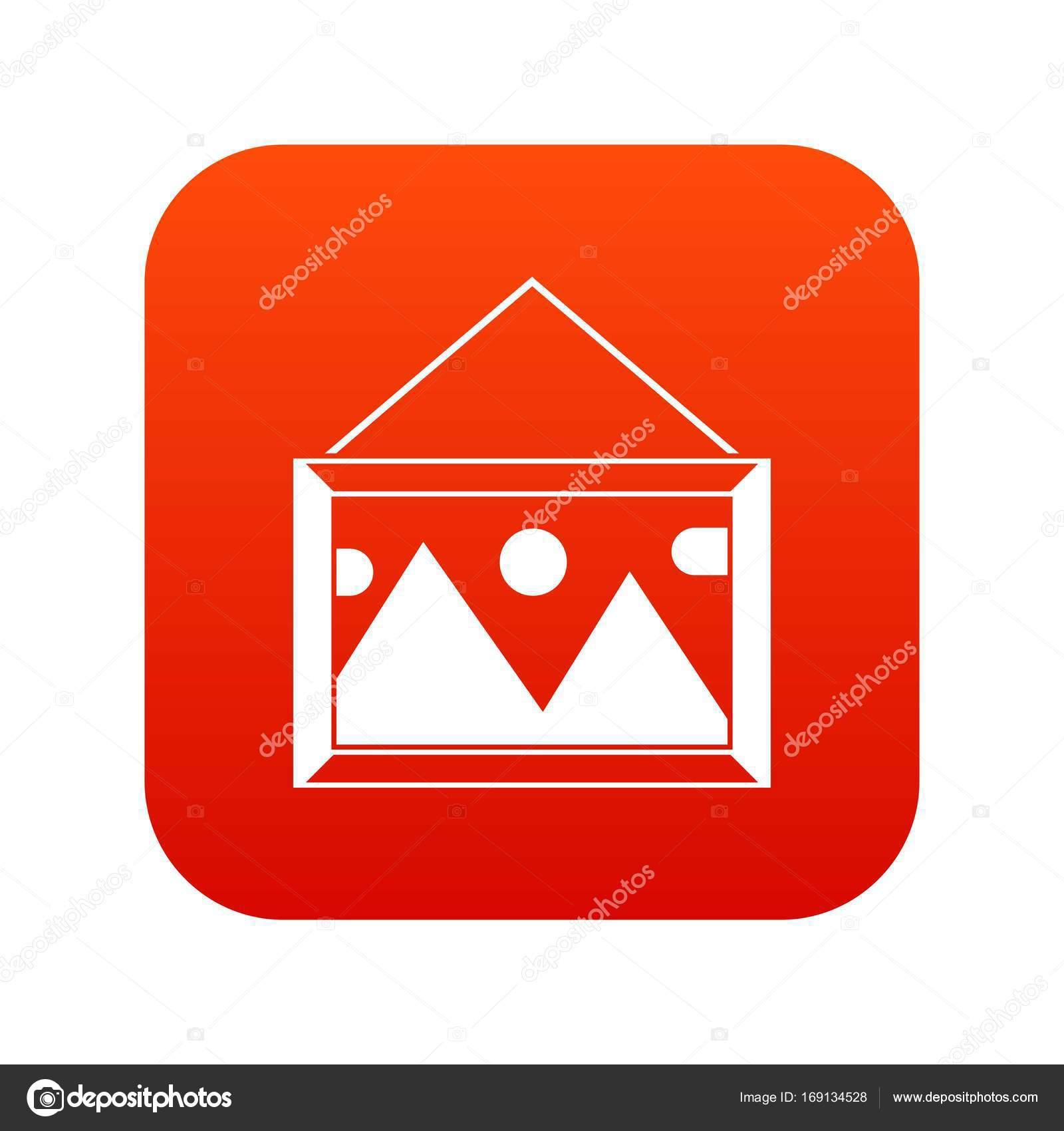 Imagen en un marco en la red digital de pared icono — Vector de ...