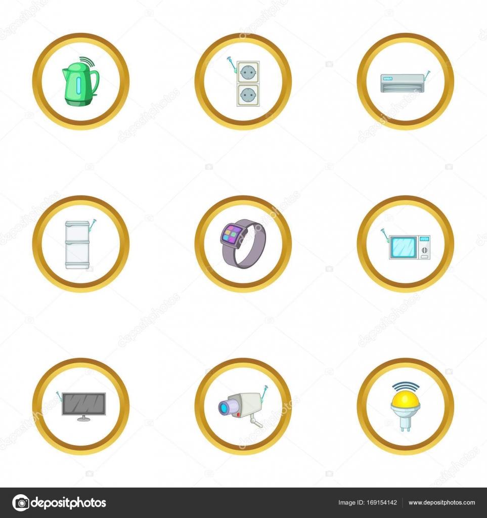 Intelligente elektronische Geräte Symbole gesetzt, Cartoon-Stil ...