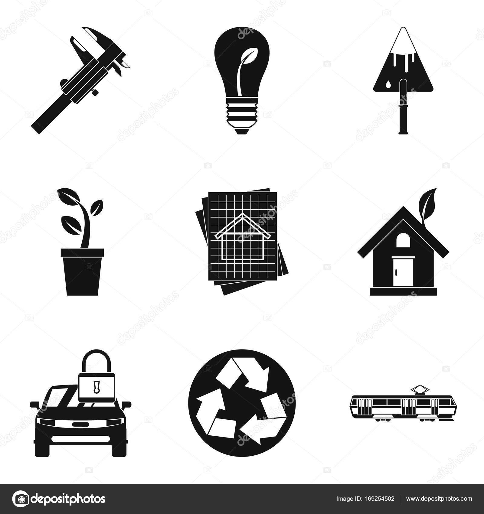 Elektrische Symbole Transportgruppe, einfachen Stil — Stockvektor ...