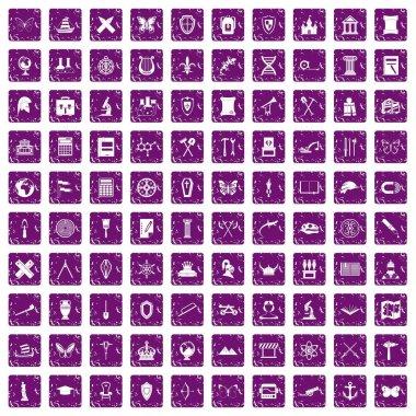 100 archeology icons set grunge purple