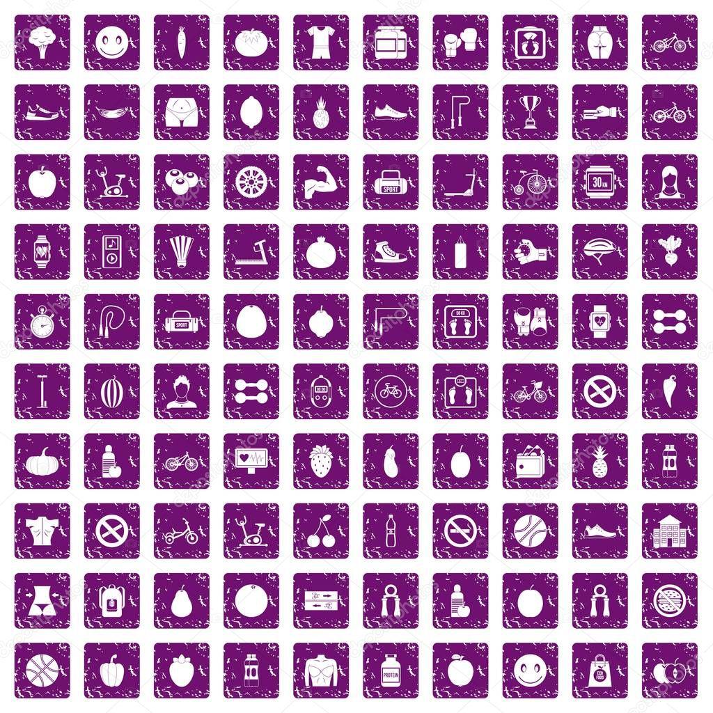 100 fitness icons set grunge purple
