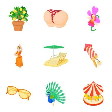 Interesting party icons set, cartoon style