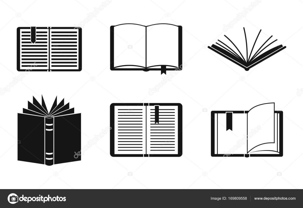 Open Book Icon Set, Simple Style