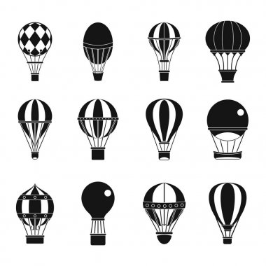Air ballon icon set, simple style