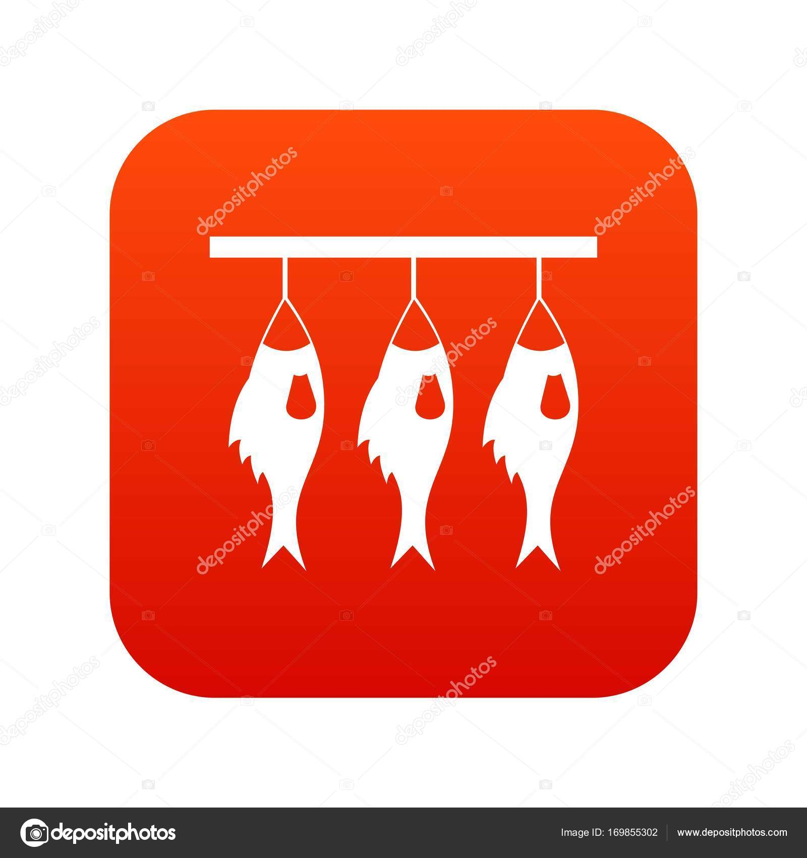 Three Dried Fish Hanging On A Rope Icon Digital Red Stock Vector