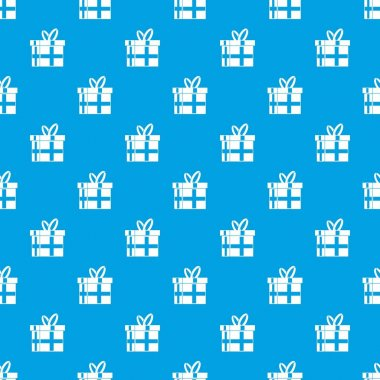 Gift in a box pattern seamless blue