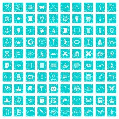 100 archeology icons set grunge blue